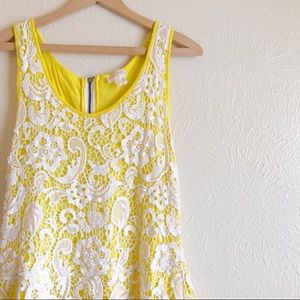 Anthropologie Tops - Meadow Rue Anthropologie yellow lace tank L